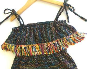 girls gypsy dress size 4 girls bohemian dress, girls hi low dress, girls dress with tassel trim, girls dress, girls Summer dress