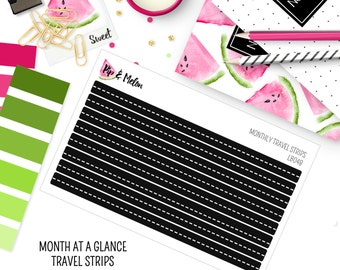 Monthly Travel Strips | Month at a glance| 8 Kiss-Cut Stickers | Travel, Vacation, Road Trip,  | LB048