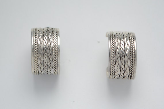 Sterling silver earrings - vintage earrings - hoop earrings - idea gift - christmas gift - vintage jewelries