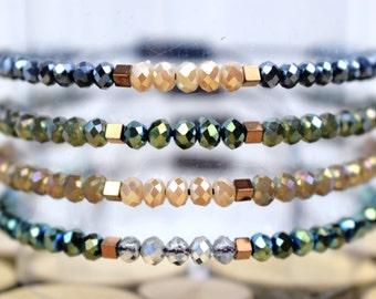Delicate Beaded Bracelet / Dainty Bracelet / Friendship Bracelet / Hematite Bracelet / Christmas Gift For Her / Stocking Stuffers