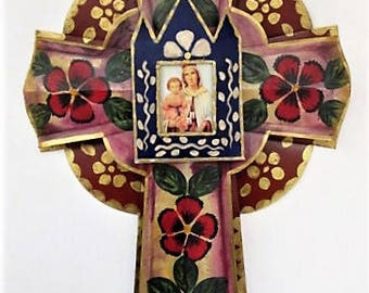 Mexican Tin Cross, Layered Painted Tin Cross with Image,Virgin Mary, Mexican Folk Art