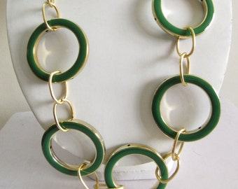 Long Necklace with Green Enamel Metal Rings/Bohemian Necklace/Statement Necklace/Bib Necklace