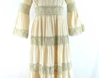 Vintage 1970s Cotton Mexican Wedding Dress Pintuck Lace Bell Sleeve Hippie Boho size M