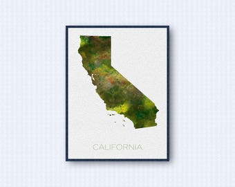 California Map Watercolor Poster, United States Map Print, Green Version