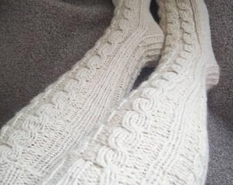 Cream hand knit long socks,sheep and angora wool thick knee length socks. UK 4-11 ,US 5-13,EU 36-47. Kozizake