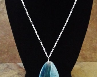 Blue Designer Pendant Necklace. Stunning Blue Stone Necklace. Teardrop Designer Pendant. Gemstone Pendant. Highly Polished Surface. Classy.