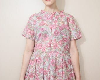 Vintage 1950s Pink Floral Button Dress - Womens Size Medium, 50s Pleated Dress with Pink Floral Pattern