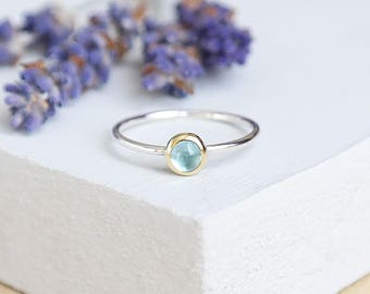 Sterling Silver Blue Topaz Ring, 9ct Gold Ring, Blue Topaz Gemstone Ring, Silver Stacking Ring, Gemstone Stacking Ring, Birthstone Ring