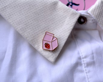 Pink Strawberry Milk Emaille Pin / brooch, 1 pcs (Pink strawberry pin, Pink pins)
