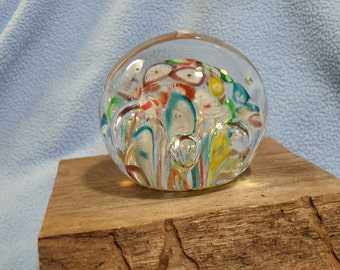 SALE!!  Vintage Glass Paperweight~ Lovely Multi-color Flower Forms (was 12.00)