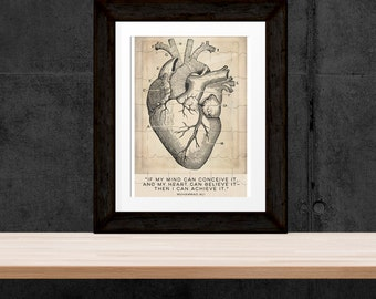 Anatomical Heart Prints, Vintage Style Cardiology Heart Digital Download, Muhammed Ali Quote, Junius Quote, Cardiologist Office Art, DIGITAL
