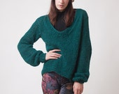 Green knit sweater, long sleeves, V neck, feather light jumper, winter knitwear, alpaca silk sweater, warm and cozy, soft womens pullover