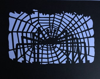 Paper art, Paper cut art, Halloween, picture for Halloween, Black Spider,