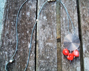 Coral boho neacklace with silver charm