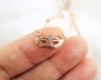 Dainty Necklace, Rose Gold Masquerade Mask Necklace,Bridesmaid Gift,Mask Necklace, Layered Neckalce