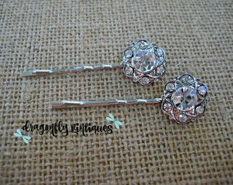 Hair Pins, Rhinestones, Silver Tone, Wedding, Bridesmaids, Gift for Her    {110}