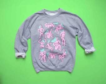 Grey NAKED LADIES Sweatshirt! Three Color Screen Print!