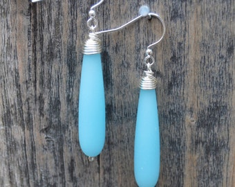Blue Wire Wrapped Sea Glass Earring