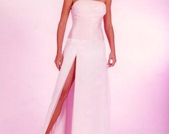 Pink Chiffon and Silk Wedding Dress