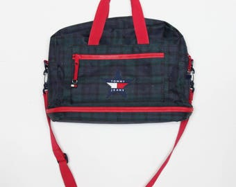 90s Tommy Hilfiger Laptop Bag Messenger Bag Plaid Crossbody Bag Grunge Messenger Bag Hipster Messenger Bag Vintage Messenger Bag
