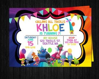 Trolls Birthday Invitation ONLY, trolls party, trolls thank you card, trolls printable, trolls favors, Poppy