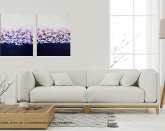 Contemporary Floral Palette Knife Painting, Abstract Flowers, Impasto Texture, Acrylic Landscape, Diptych Modern wall art Home Decor 32 x 20