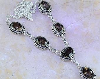 """Light Gray Smoky Quartz Necklace 19"""" Princess Style"""