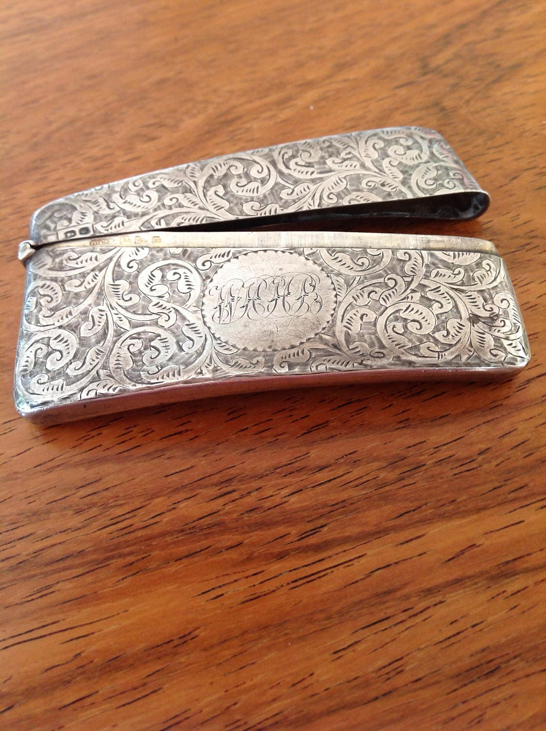 Victorian sterling silver business card case, ornate antique case ...
