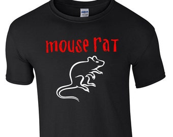Black MOUSE RAT Band Ring-Spun Soft Cotton T-Shirt