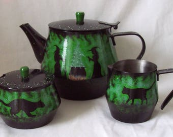 Witches and Cats Tea Set Hand Painted and Designed Witches Teapot, Milk Jug, Sugar Bowl Set