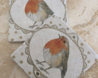 Set of 2 Marble Coaster~Robin and Gold Dots/Christmas/Orange