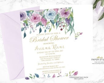 Gold Blue Purple Bridal Shower Invitation, Floral Bridal Shower, Bridal Shower Invite, Custom Invitation, Printable Invite, Ref. BR022