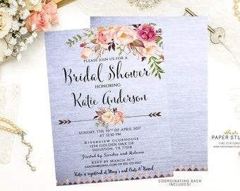 Custom Bridal Invite, Watercolor Invitation, Floral Bridal Shower Invite, Boho Shower Invite, Boho Bridal Invite, Shower Invitation, BR082