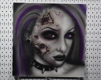 """Original 24x24"""" Painting - LSI - Colorful Horror Portrait"""