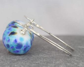Blue earrings ~ lampwork beads ~ beaded dangle earrings ~ blue drop earrings ~ sterling silver dangle earrings ~ drop earrings for women