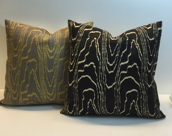 Lee Jofa Groundworks - Kelly Wearstler Agate Ebony Or Taupe/Gold Cushion Covers, Throw Pillows - Many Sizes available