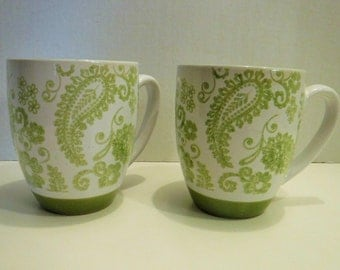 Lime Green Coffee Mugs, Large White and Lime Green Large, Floral Cups, Mugs, Stoneware Ceramic Coffee Mugs, Dishwasher and Microwave Safe