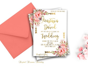 Romantic Spring Wedding Invitation Printable Gold Wedding Blush Pink Floral Wedding Invitation Suite Gold Coral Wedding Boho Wedding Invite