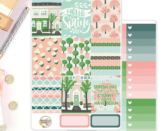 Spring Has Sprung Vertical for use in Erin Condren Life Planner Sticker Kit Deluxe Weekly Kit