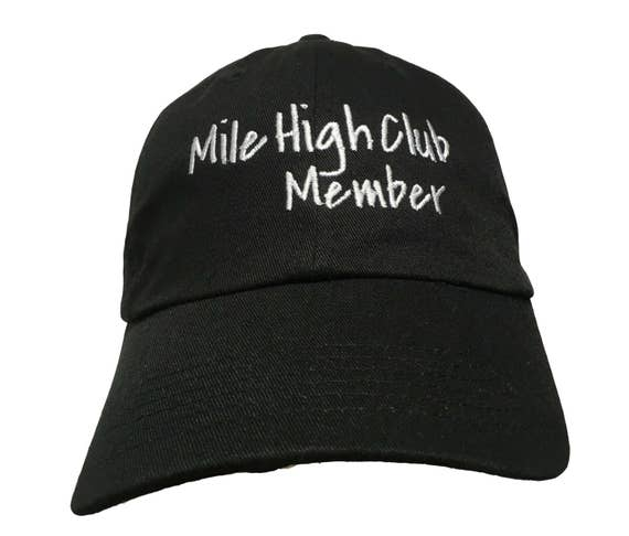 Mile High Club Member (Polo Style Ball Cap - Black with White Stitching