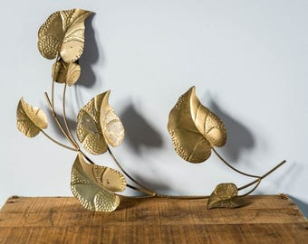 Vintage Tin Metal Wall Art - Leaves on Vine Wall Hanging Vintage Home Decor - Floral Garden Leaf Wall Sculpture Wall Art - Woodland Decor