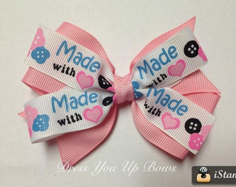 """4"""" Made with love button heart pink blue ribbon hair bow clip birthday party favor baby toddler teen Easter Basket filler dressyouupbows"""