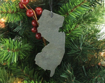 New Jersey Slate Christmas Ornament- Personalized with Laser Engraving