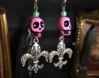 fleur de lis rockabilly and pink skull earrings