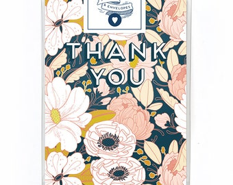 Thank You Card Box Set of 5 - Floral Thank You Card - Single Card - Night Floral Thank You Card Blank Inside