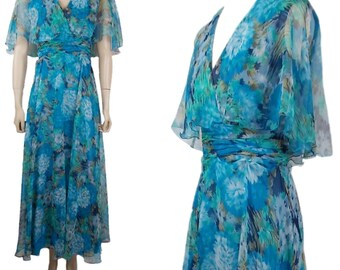 1970s V Neck Floaty Floral Chiffon Maxi Dress Blue UK 10