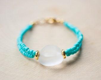 Comet · Turquoise Bead Bracelet | Sea Glass Bead Bracelet | Sea Glass Jewelry |  Turquoise Jewelry | Gifts for Her