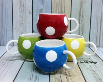 Polka Dot Tea Cup Set, Yellow Red Blue Green, Retro Kitchen Decor, Polka Dot Coffee Cups, Spotty Ceramic Mugs,  Set of 4 Tea Cups, Fun Ware