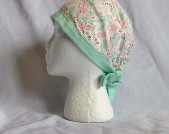 Pink and Mint Unicorns and Rabbits Surgical Scrub Cap Chemo Dental Hat