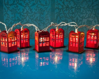 London Phone Booth Light Set of 10 - British Decor - Vintage - Red - Handmade Wooden Luminaries - String Night Lights - Retro Mini Telephone